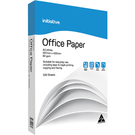 INITIATIVE A3 OFFICE COPY PAPER 80GSM WHITE 500 SHEETS