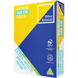 OFFICE NATIONAL A4 ULTRA WHITE CARBON NEUTRAL COPY PAPER 80GSM WHITE 500 SHEETS
