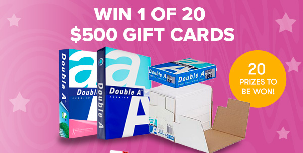 Win 1 of 20 $500 Gift Cards. 20 Prizes to be won.