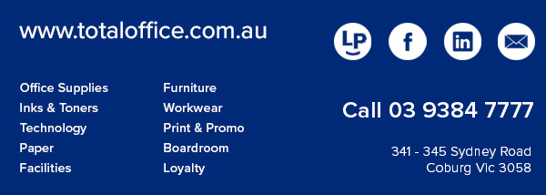 Total Office National. 341-345 Sydney Road, Coburg Vic 3058. Tel: 03 9384 7777.