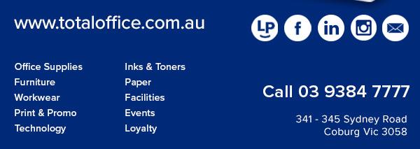 Total Office National. 341-345 Sydney Road, Coburg Vic 3058. Tel: 03 9384 7777.