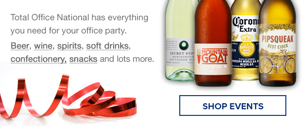 Total Office National has everything you need for your office party.Beer, wine, spirits, soft drinks, confectionery, snacks and lots more.