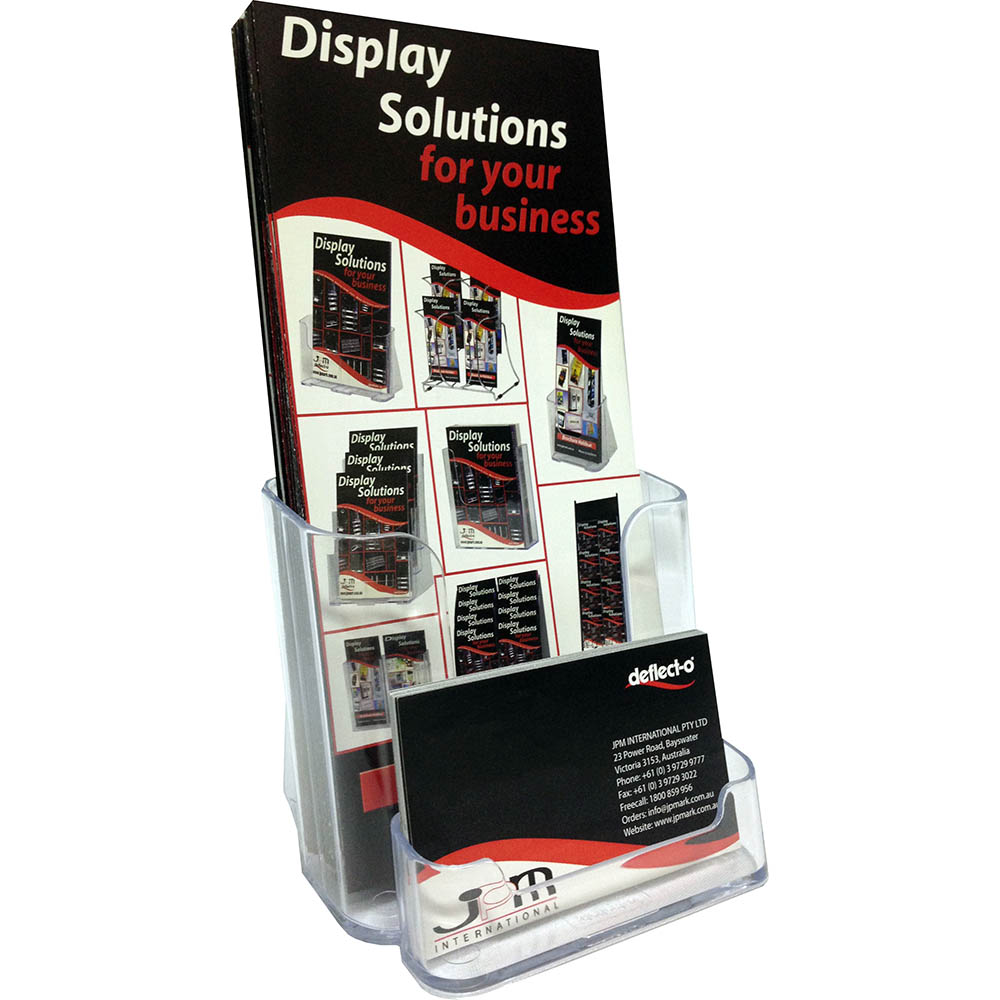 Deflecto dl single tier brochure holder with business card holder clear colourmoves