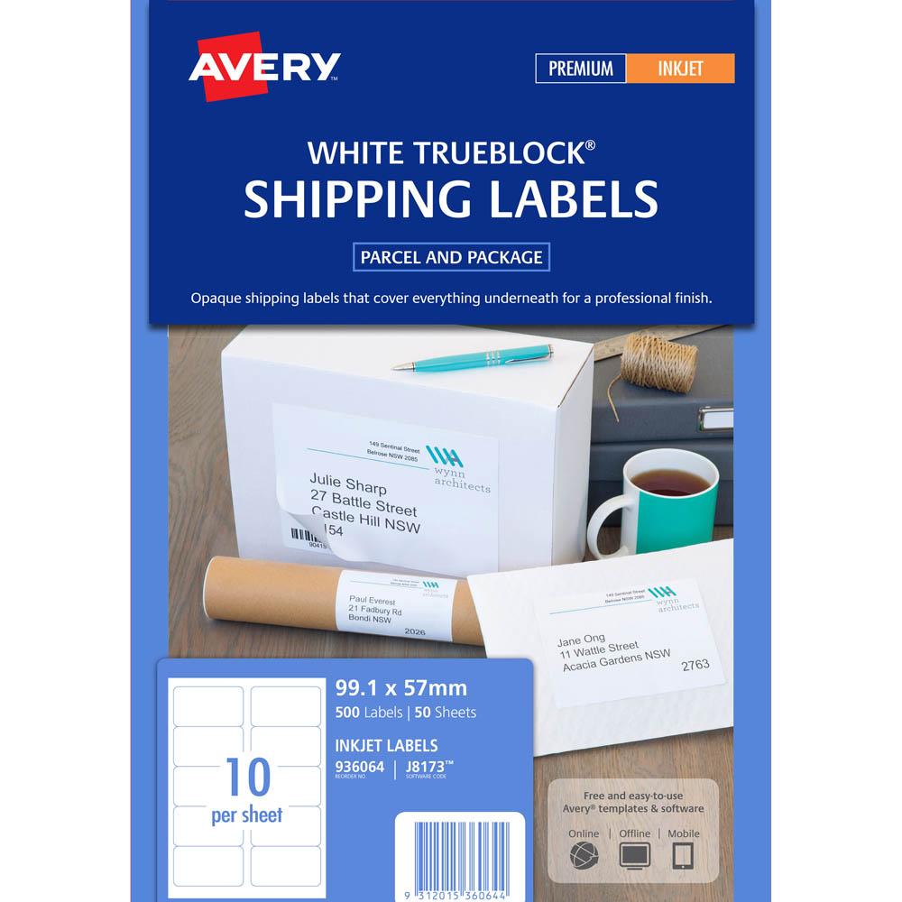 avery 936064 j8173 quick peel address label inkjet 10up white pack 50