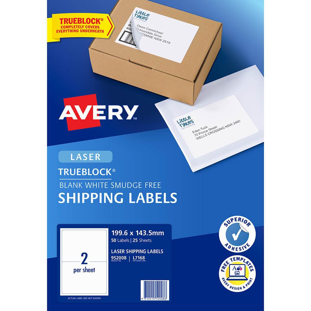 avery 952008 l7168 trueblock shipping label laser 2up white pack 25