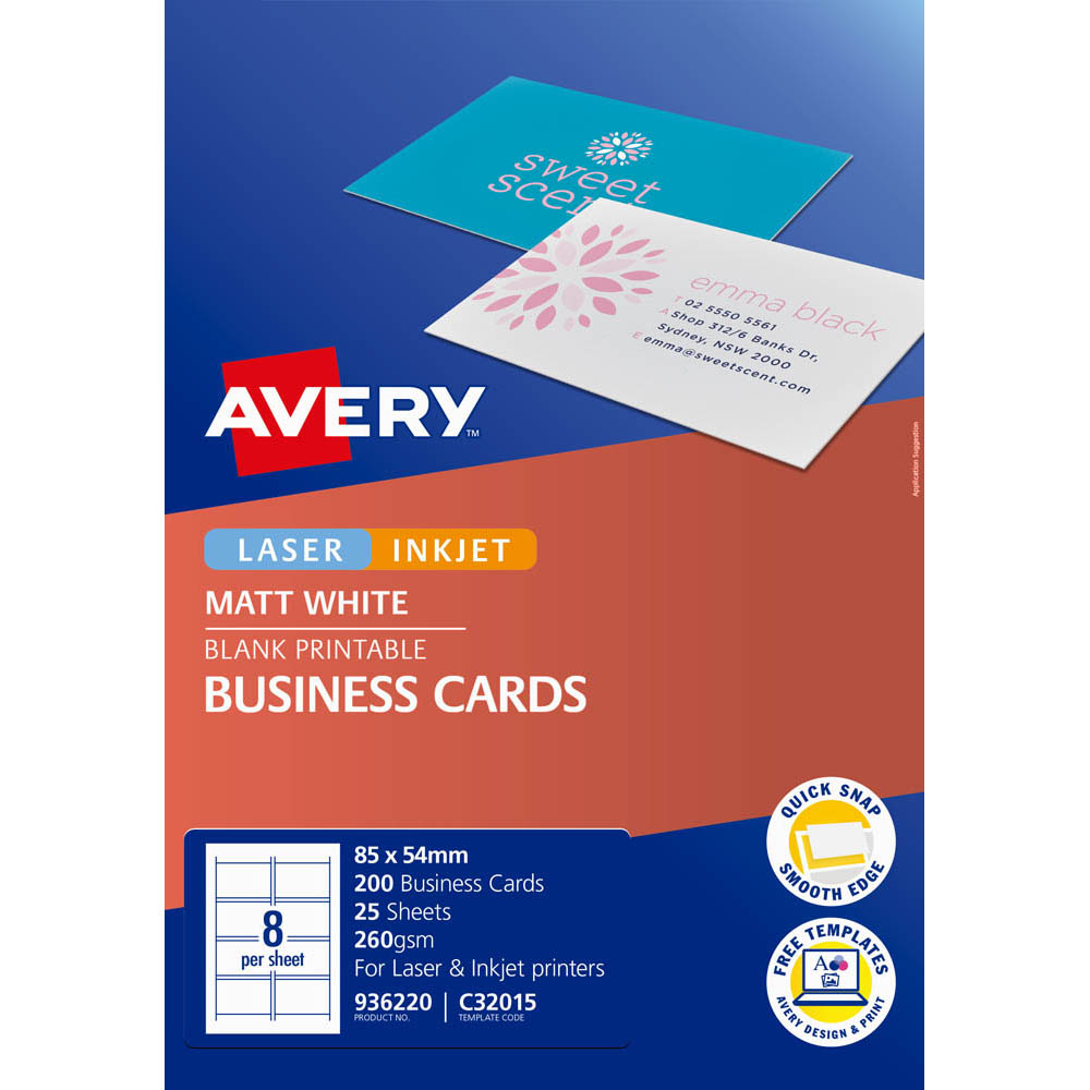 Avery 936220 C32015 Quick And Clean Business Cards Inkjet Matt