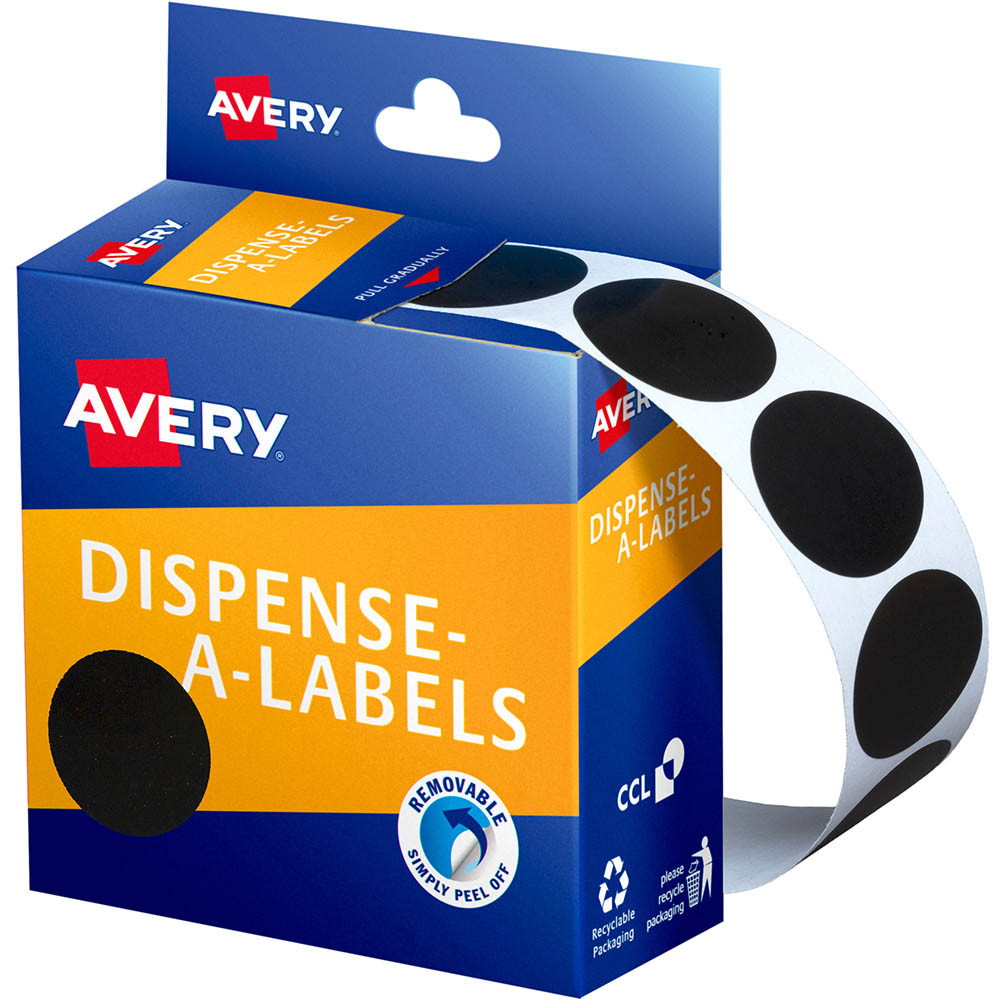 avery 937250 round label dispenser 24mm black box 500