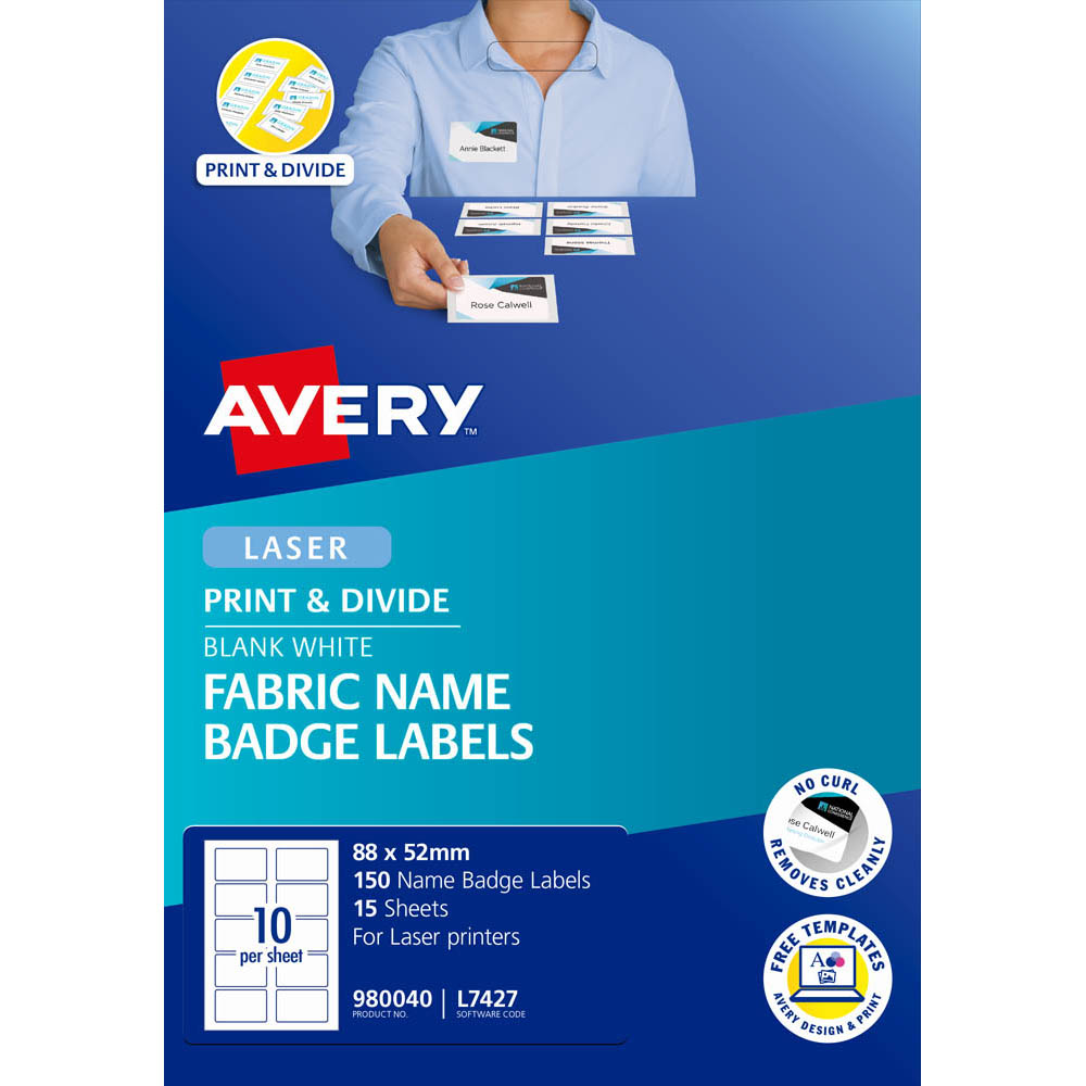 avery 980040 l7427 fabric name badge labels 10up 88 x 52mm pack 15