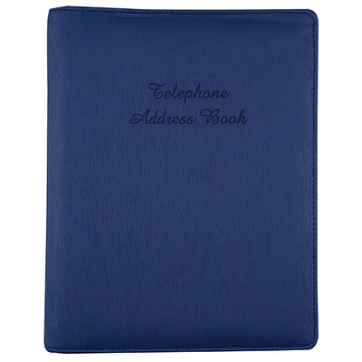 cumberland address book pu cover 6 ring with a z tabs 210 x 148mm navy