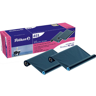PELIKAN COMPATIBLE BROTHER PC-402 FAX FILM REFILL BLACK TWIN PACK