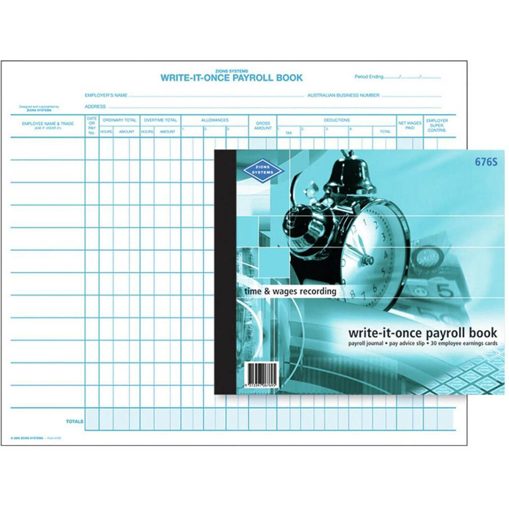 ZIONS PAYROLL BOOK PACK 12 LINES PER PAGE