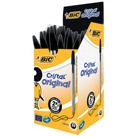 BIC CRISTAL BALLPOINT PENS MEDIUM BLACK BOX 50