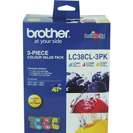 BROTHER LC38CL3PK INK CARTRIDGE VALUE PACK CYAN/MAGENTA/YELLOW