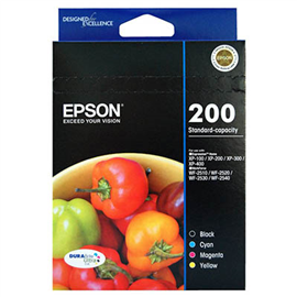 EPSON 200 INK CARTRIDGE VALUE PACK BLACK/CYAN/MAGENTA/YELLOW