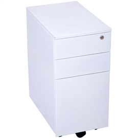 GO STEEL SLIMLINE MOBILE PEDESTAL 3 DRAWER 300 X 472 X 610MM WHITE CHINA